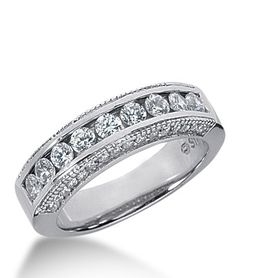 round cut channel set antique diamond wedding band - Wedding Rings Bands