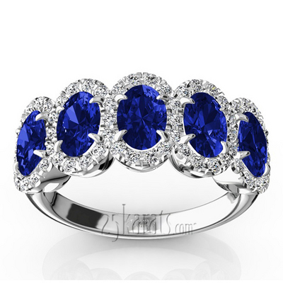 Micro Pave Set Diamond and Oval Sapphire Anniversary Band ...
