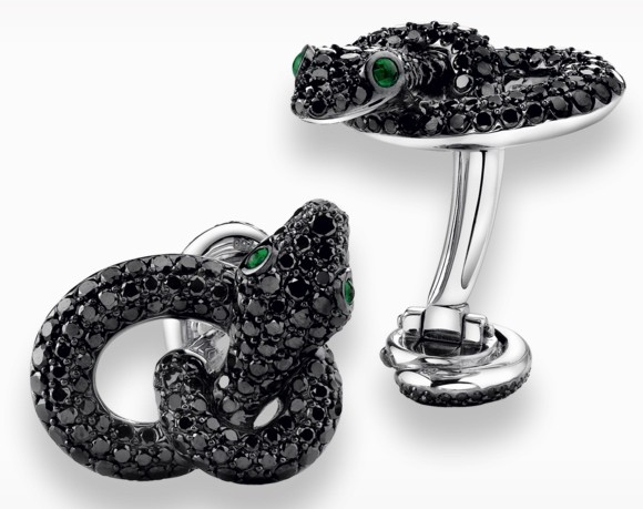 The cufflinks crafted in 18k white gold with black diamonds and emeralds and