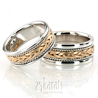 14K Gold Stylish Sandblasted Hand Braided Wedding Band Set