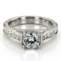 Fancy Antique Design Trellis Center Engagement Ring