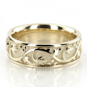 14K Gold Floral Antique Handmade Wedding Ring