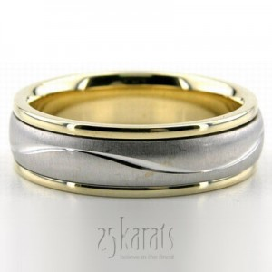 14k Gold Bester Wave Design Two Tone Wedding Ring
