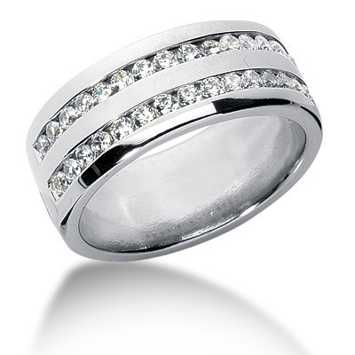0.96 ct.tw. Double Row Channel Set Diamond Men's Ring