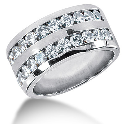 2.64 ct. Double Row Channel Set Diamond Men's Ring