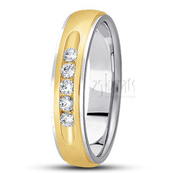 Diamond classic round cut channel wedding band