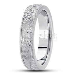 Fancy carved hand engraved wedding band