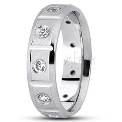 Diamond contemporary round cut wedding band