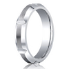 Cobaltchrome™ 5mm Comfort-Fit Satin-Finished High Polished Grooves & Beveled Edge Design Ring