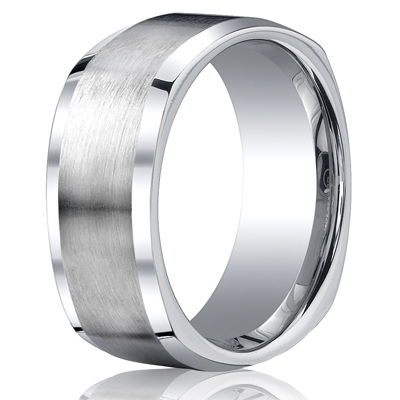 Cobaltchrome™ 9mm Comfort-Fit Satin-Finished Four-Sided Design Ring