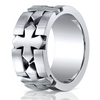 Cobaltchrome™ 10mm Comfort-Fit Satin-Finished Celtic Cross Design Ring