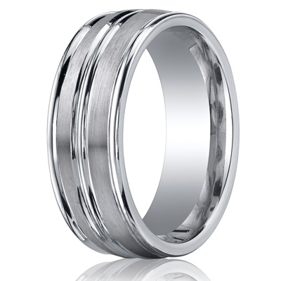 Cobaltchrome™ 8mm Comfort-Fit Satin-Finished High Polished Center & Round Edge Design Ring