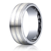 Cobaltchrome™- Silver 8mm Comfort-Fit Satin-Finished Parallel Silver Inlay Design Ring