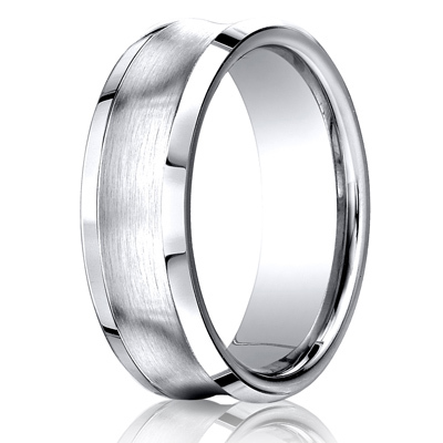 Cobaltchrome™ 7.5mm Comfort-Fit Satin-Finished Concave Design Ring