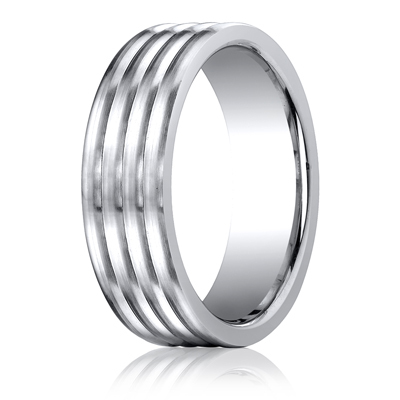 Cobaltchrome™ 7.0mm Comfort-Fit  Satin-Finished 4-Roll Design Ring