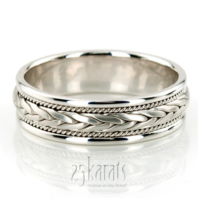 14k gold braided elegant hand woven wedding band hm003 for Woven wedding ring