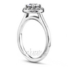 Halo diamond engagement ring with plain shank