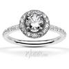 Halo pave set diamond engagement ring