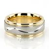 Tt233 two tone wave design milgrain wedding band