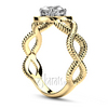Wire look twist shank halo diamond gold engagement ring