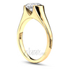Half bezel yellow gold solitaire engagement ring