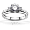 Trellis setting sides and pave malees diamond engagement ring