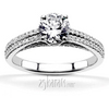 Split shank pave set diamonds engament ring with peek a boo diamonds