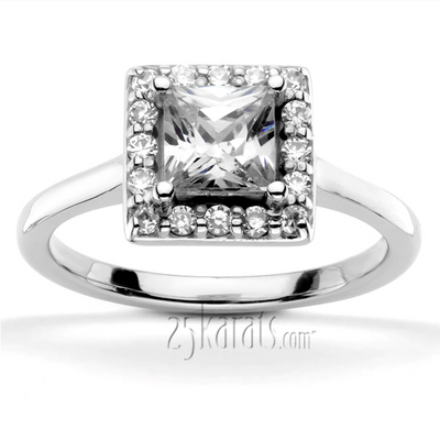halo style bead set engagement ring princess cut