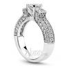 Three side pave set diamond engagement ring set