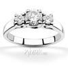 Trellis setting three stone diamond engagement ring
