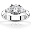 Triangle sides round center three stone diamond engagement ring