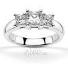 Princess sut basket setting three stone engagement ring
