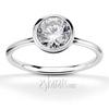 Bezel set elegant solitaire engagement ring