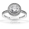 Pave set halo diamond engagement ring
