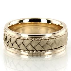 Hc100105 classic milgrain hand braided wedding band