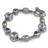Multi color gem stone couture silver bracelet