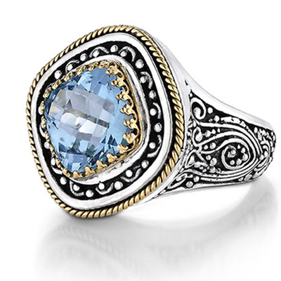 sterling silver and 18k yellow blue topaz ring 25karats