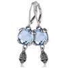 10mm blue topaz lever back fashion earrings