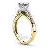 Yellow gold diamond engagement ring micro pave