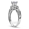 Platinum micro pave scroll engagement ring