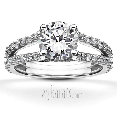 Diamond Solitaire Engagement Ring With a Diamond Shank Diamond Engagement Ring