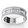 Platinum and gold round and baguette anniversary band