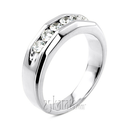 0.60 ct. Round Cut Channel Set Diamond Men's Wedding Ring