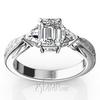Antique three stone diamond trillion engagement ring