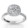 Micro pave halo contemporary diamond engagement ring