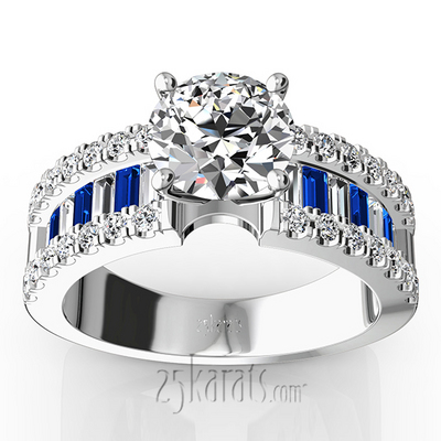 engagement ring with sapphire and baguettes 1 25