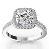 Halo micro pave cathedral diamond ring
