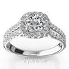 Split shank micro pave halo diamond engagement rings