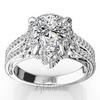 Pear shape halo split shank engagement ring