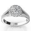 Split shank halo diamond ring